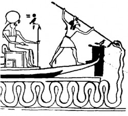 Der altägyptische Gott Apohis behindert die Fahrt der Sonnenbarke  mit den Windungen seines riesigen Schlangenkörpers, um den Aufgang der Sonne zu verhindern. – Symbolisch ist das die Behinderung, die überwunden werden muss, um aus dem Dunklen immer wieder ins Licht zu finden.