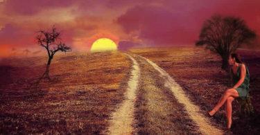 frau-sonnenuntergang-violett-landscape