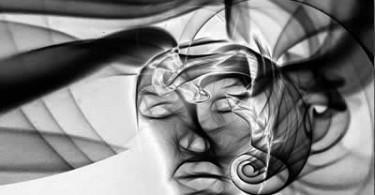abstraktes Gesicht in schwarz weiß