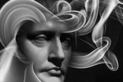 Gesicht in schwarz weiß mit Gedankenwellen