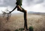 Frau mit Wurzeln in die Erde