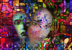 Psychische Störungen gesichter bunt mosaik surreal