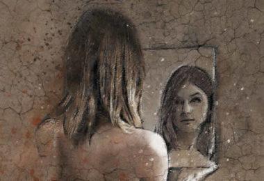 Selbstvertrauen-frau-spiegel-zeichnung-woman