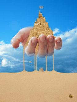 Visionen schloss sand hand landscape