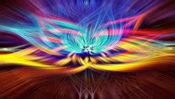Reinkarnation und Spiritualität bunt chakren strahlen colorful