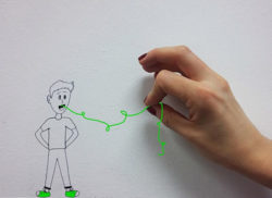 Floskel wie geht es dir Zeichnung Faden Hand