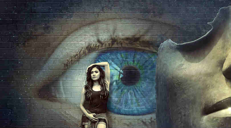 Frau-Auge-Wand-fantasy