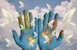 Ich wünsche mir  Weltfrieden haende tauben world