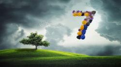 Zahl 7 für ein höheres Bewusstsein sieben baum gras wolken tree