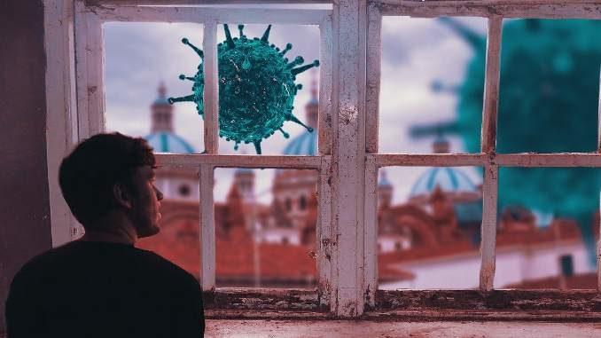 Mann schaut durch ein Fenster nach draussen wo Viren lauern