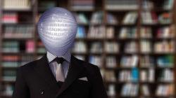Kopf gefüllt mit Daten vor Bücherwand