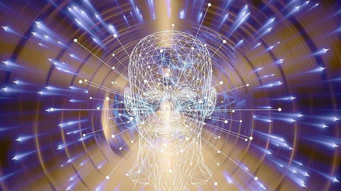 Bewusstsein-kopf-netz-pfeile-virtual