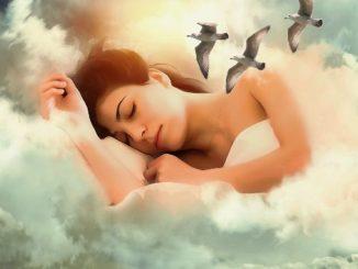 frau-schlaf-wolken-voegel-woman